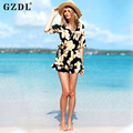 Hot Plus Size Women Clothing Floral Print Casual Loose Summer Beach Dress Ladies Tops Short Rompers Playsuit Vestidos CL2911