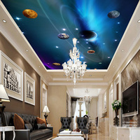 Custom 3D Ceiling Wallpaper Mural Space Solar System Planet Bedroom Ceiling Background Wall Living Room Wall