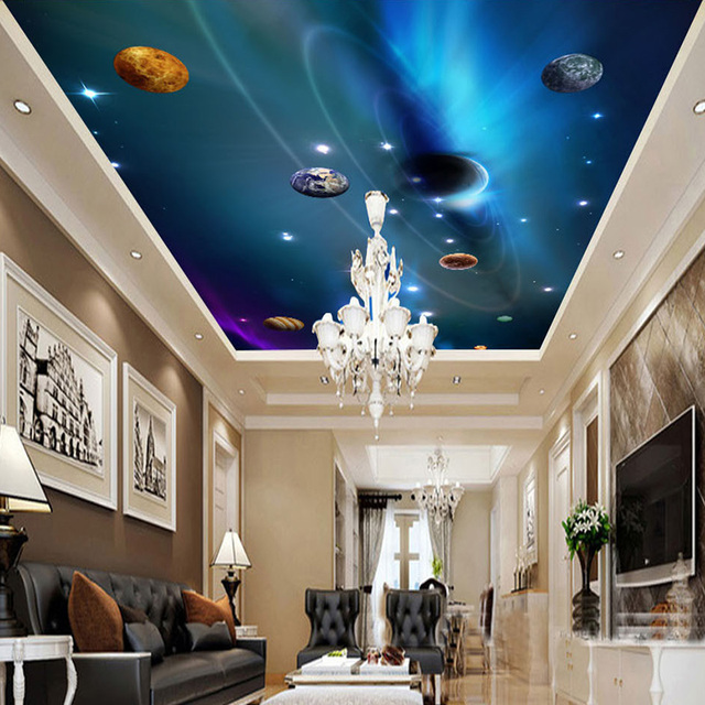 Custom 3d ceiling wallpaper mural space solar system for Space wallpaper bedroom