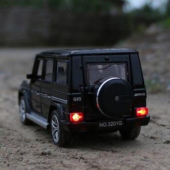 Benz G65 SUV Jeep AMG игрушечный автомобиль из сплава Модель автомобиля открывающийся звуковой светильник оттягивающийся 1:32 модель автомобиля пода...