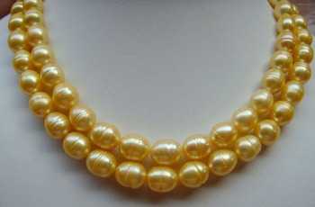 HUGE AAA+ 10-13MM South Sea Golden Baroque Pearl Necklace 35""