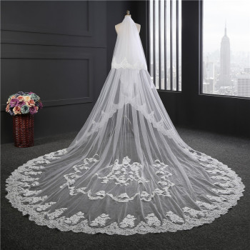 Hot White Ivory one layers 350cm Lace Cathedral Wedding Veil With Comb Bridal Veils veu de noiva longo com renda Free Shipping
