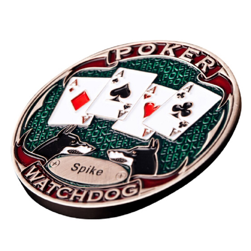 FGHGF Zinc alloy WATCH DOGS Retro Poker Card Guard Cover Chip PokerStars Dealer Button Cards Protector Head-to-tail Divination