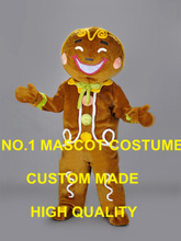 New Arrival High Quality GINGER BREAD MAN MASCOT Christmas Costumes carnival Fancy Dress Kits suit SW2484