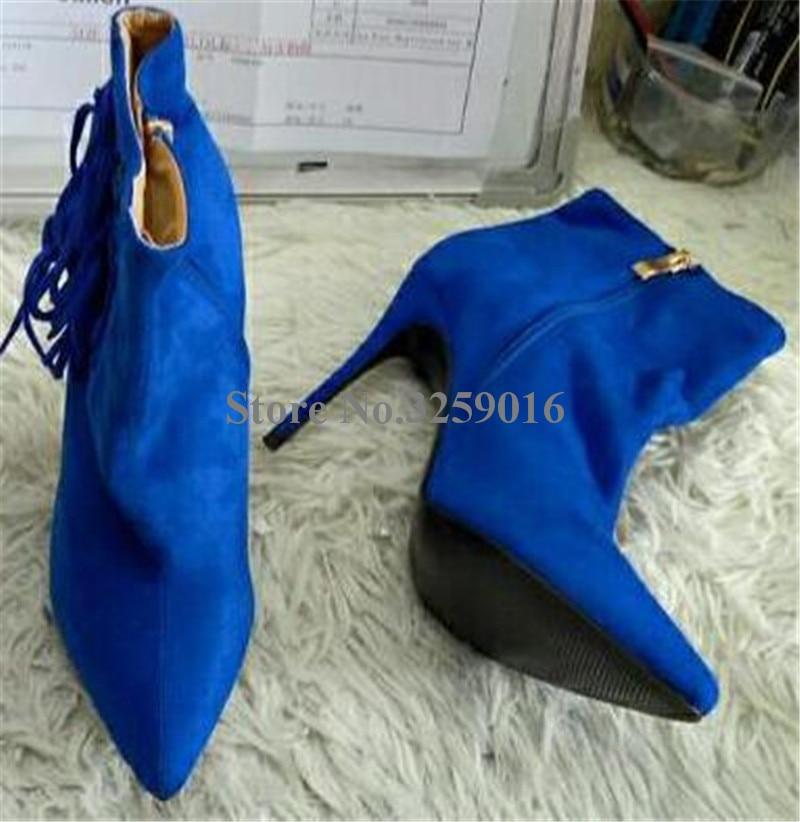 Recorte Azul Borlas Moda Punta Gladiador Botas Mujeres Tacón Cuero Imágenes Botines Suede Alto Flecos Reales Estrecha WPpaBUx