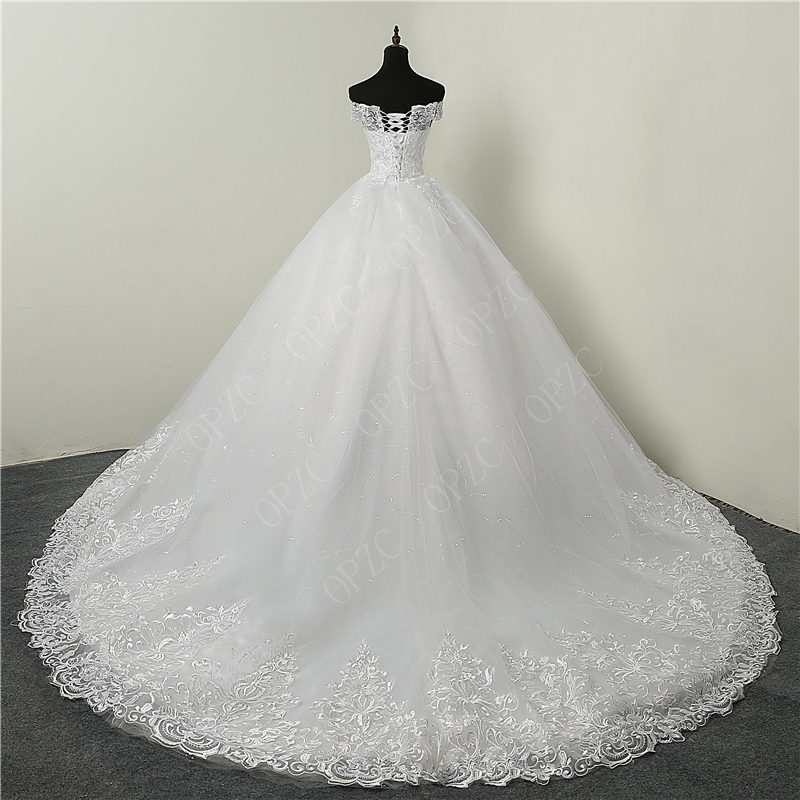 Real Vedio Luxury Lace Applique Plus Size Wedding Dress Embroidery 2021 New Long Train Sweetheart Bride Gown Vestidos De Noiva 1