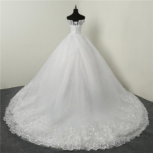 30% Discount Luxury Lace Embroidery 2020 Wedding Dresses 100cm Long Train Sweetheart Elegant Plus size Vestido De Noiva Bride 1