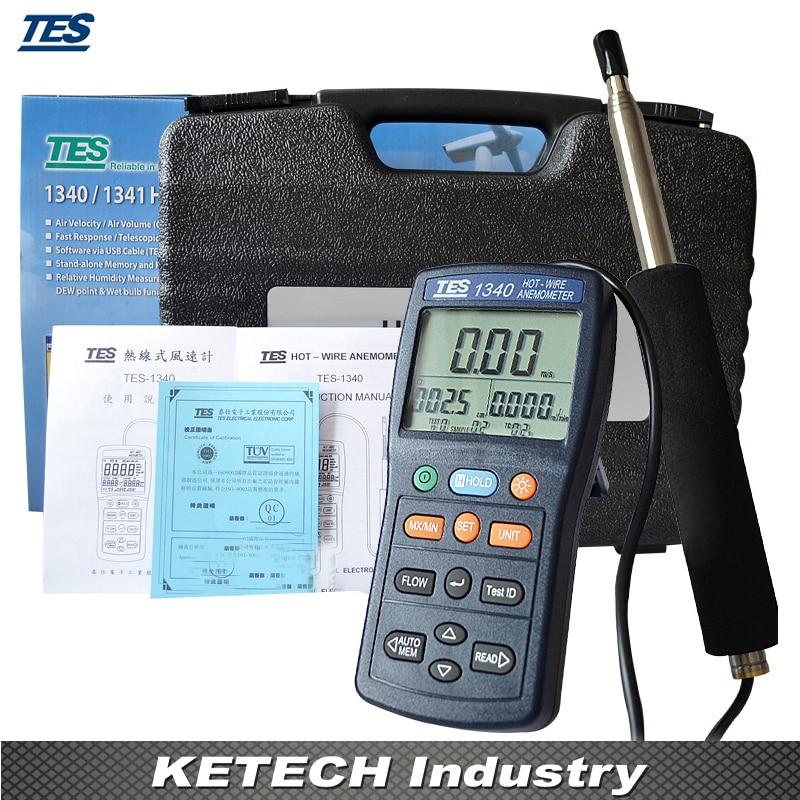 Anémomètre thermique à fil chaud anémomètre numérique débitmètre d'air TES-1340