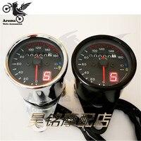 Silver Black LED Backlight Motorbike Speedometer Moto Pit Bike Motocross Odometer Digital For Honda CG125 Motorcycle