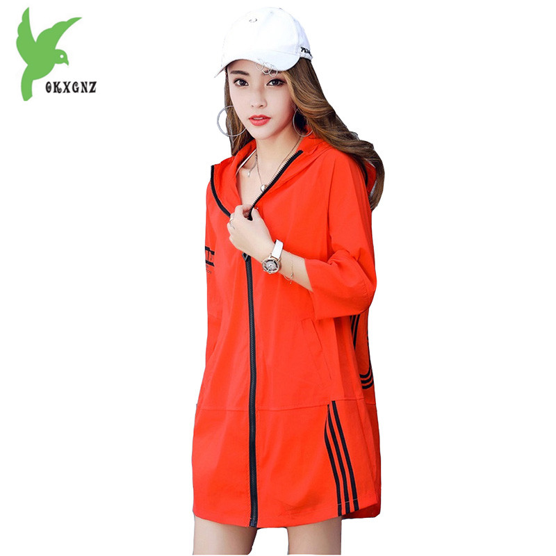 Thin   trench   coat women 2018 summer Sun protection clothing Boutique print plus size Thin coat female waterproof Hooded top coats