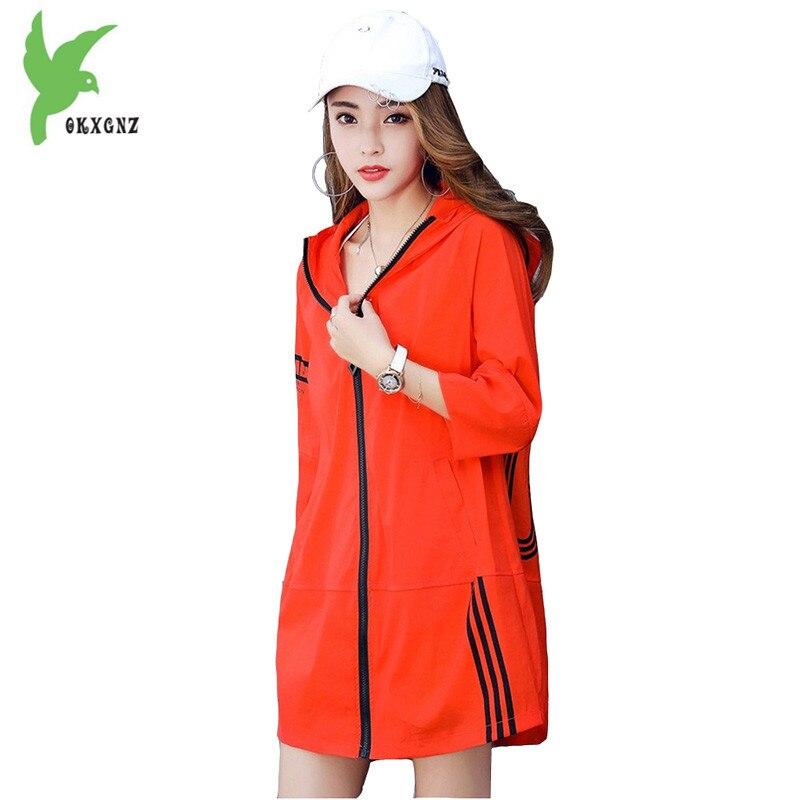 Trench mince femmes 2018 été protection solaire vêtements Boutique imprimer grande taille mince manteau femme imperméable à capuche top manteaux
