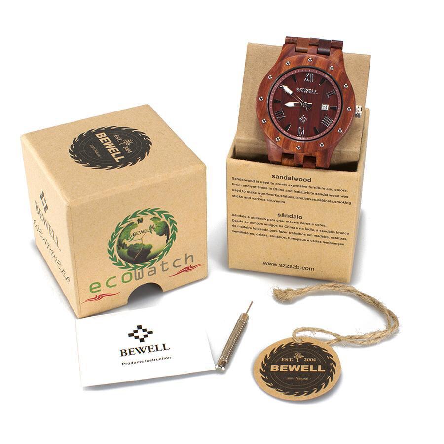 BEWELL dernière montre en bois naturel visage rond bracelet en bois japon mouvement montre à Quartz avec calendrier hommes montres dans la boîte-cadeau 109A - 6