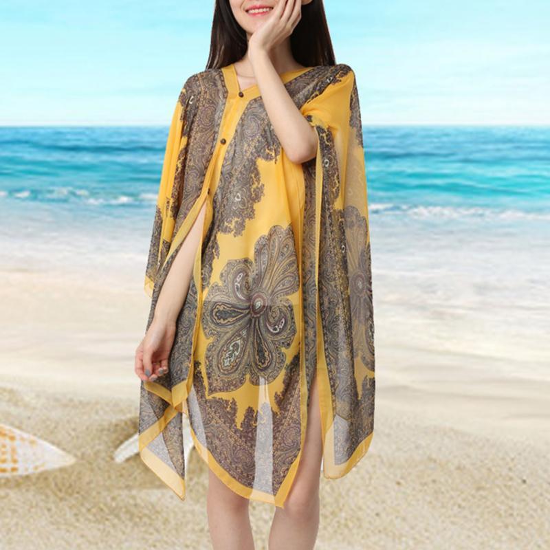 Summer Woman Sexy Bathing Suit Beach Dress Print Bikini Swimsuit Cover Up Beach Wear Pareo Sarong