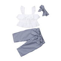Pudcoco 2019 Summer Toddler Kid Baby Girl Clothes Vest Crop White Tops+Stripe Pants 3PCS Outfit Set