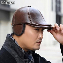 XdanqinX Cowhide Leather Hat Autumn Winter Mens Genuine Berets Thick Warm Earmuffs Hats Bone Fashion Snapback Dads