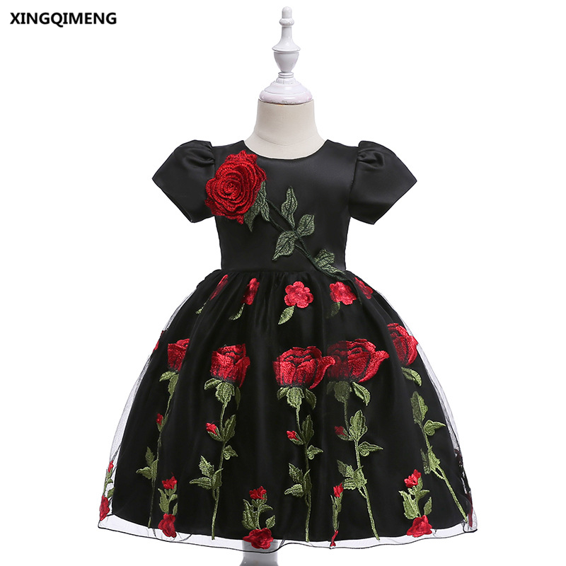 In Stock Black Embroidery Flower Girl Dresses 3 10y Wedding Party