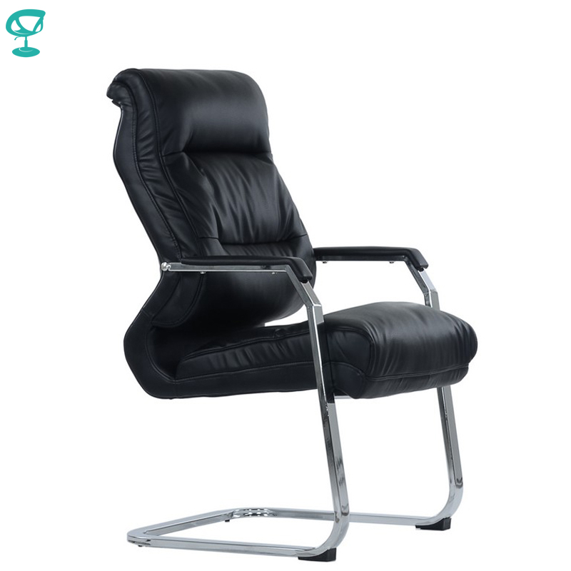 95459 Barneo K-17 Office Chair For Visitor Barneo Black Eco-leather Chrome Legs Chair Popular Model Free Shipping In Russia