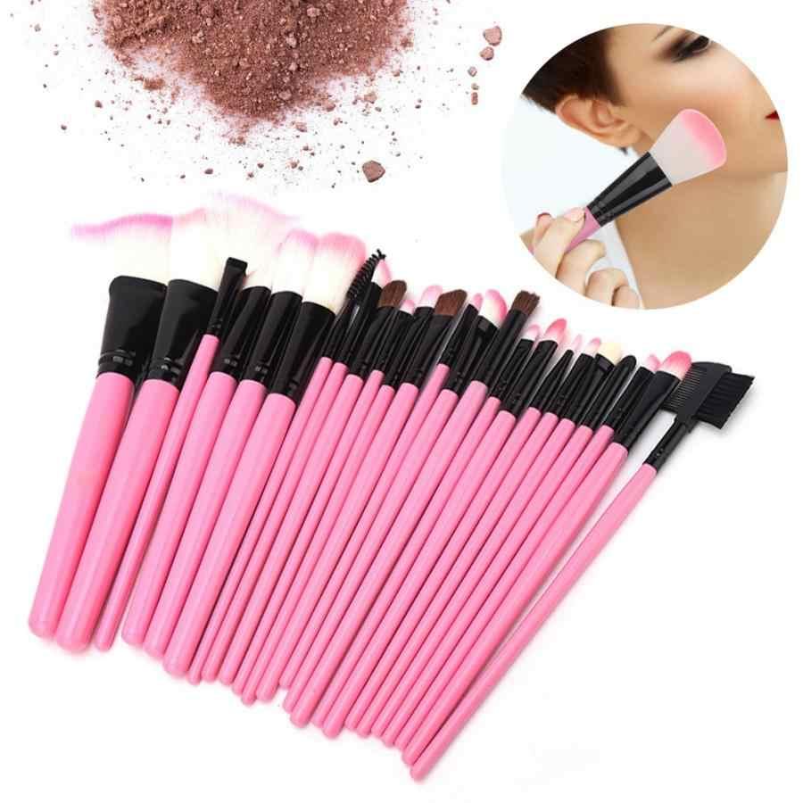 24Pcs Pink Wooden Handle Makeup Brushes Set Foundation Eyeshadow Lip Brush with PU Storage Bag