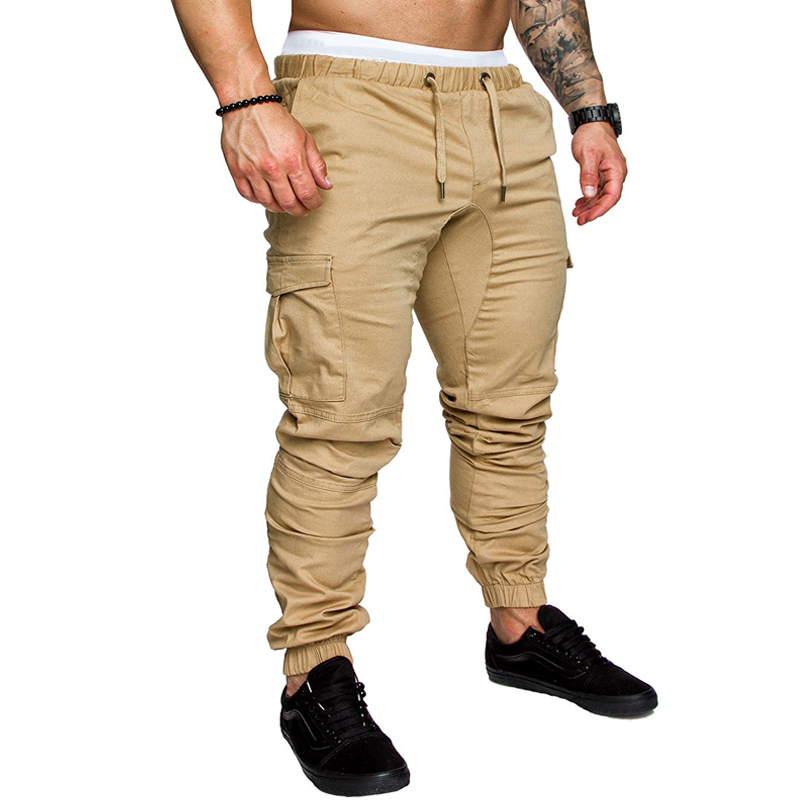 2018 New Fashion Brand Mens Pants Slim Solid Color Elasticity Men Casual Pants Man Trousers Designer Khaki Mens Joggers M-4XL ...