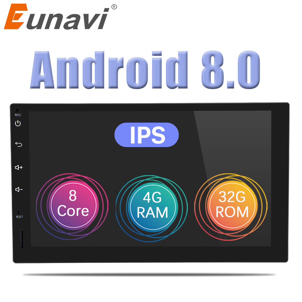 Eunavi 7'' 2 din Octa 8 Core Android 8.0 4GB RAM car radio universal GPS Navi audio stereo Multimedia Player wifi bluetooth USB цена 2017