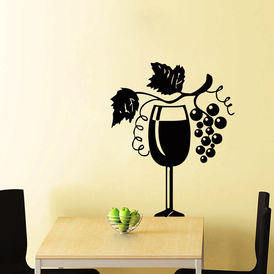 In Vino Veritas Quote Wall Stickers Home Decor Wine Glass Bottle ...
