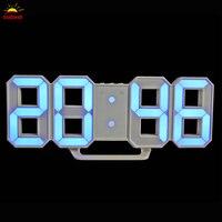 LED Affichage de L'heure Mur Horloge Numérique 3D Horloge Vogue Électronique Horloge 24/12 Heures Affichage table de nuit lumière lampe USB/batterie
