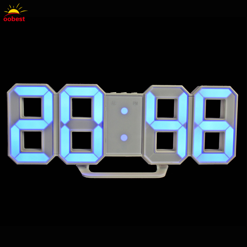 LED Time Display Wall Clock Digital 3D Clock Vogue Electronic Clock 24/12 Hour Display night table light lamp USB/Battery 3d diy wall clock large table clock led digital automatic sensor light jumbo wall clock huge screen display white