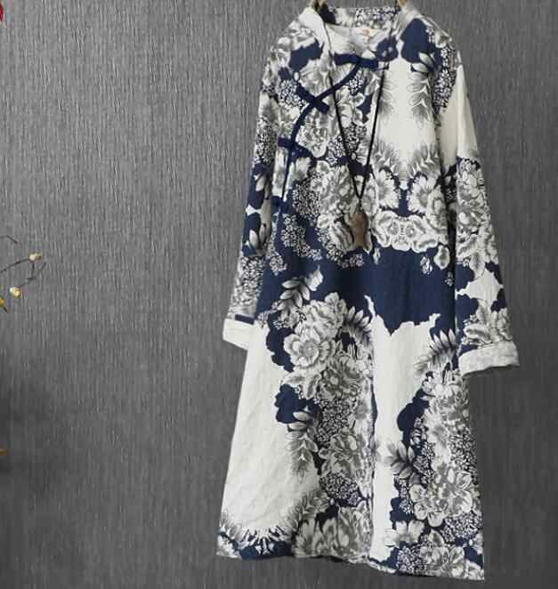 Women Linen Dress Print Ink 2019 Spring Autumn New China National Cotton Long Sleeve Long Plate Buckles Vintage Loose Women Robe