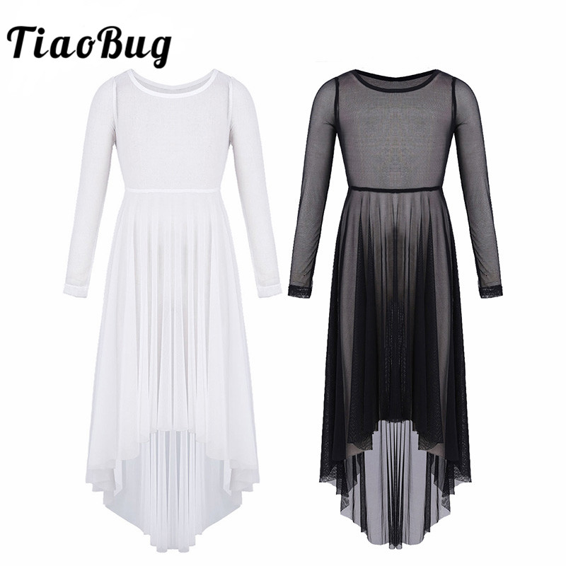 TiaoBug Girls Mesh High-low Hem Dance Dress Lyrical Dance Costumes Girls Ballet Contemporary Dance Costume Kids Teens Dance Wear