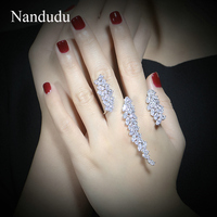 Nandudu Mode AAA Cubic Zirkoon Twee Vingers Ring Verstelbare maat met Oostenrijkse Kristal Ringen Accessoires Sieraden Gift R1058