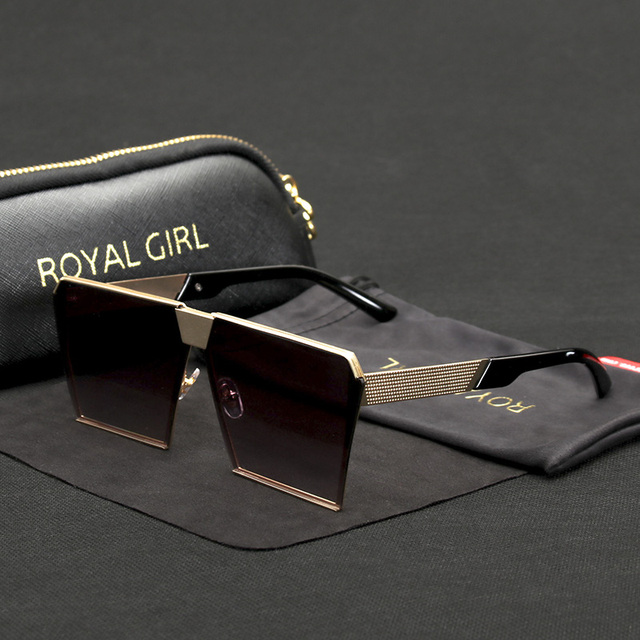 ROYAL GIRL 2017 Brand Designer Sunglasses for women Vintage Retro Metal Oversize Sun glasses Oculos included Cases ss620