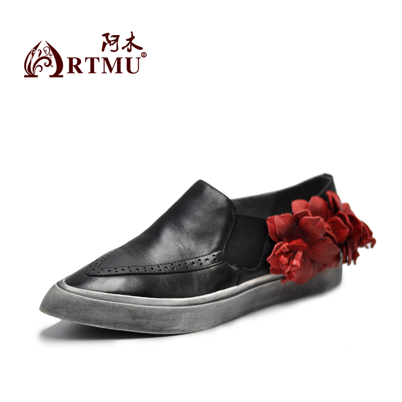 Artmu Women Shoes Flowers Handmade Genuine Leather Shoes Fashion Soft Mother Shoes Point Toe tenis feminino chaussures femme artmu fashion women sandals shoes hollow breathable handmade genuine leather shoes woman beach shoe soft bottom 2018 summer new