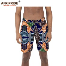 2018 new africa print casual shorts for men AFIRPRIDE tailor made fly belt loop summer men's zipper cotton beach shorts A1811001 stylish straight leg checked print zipper fly shorts for men