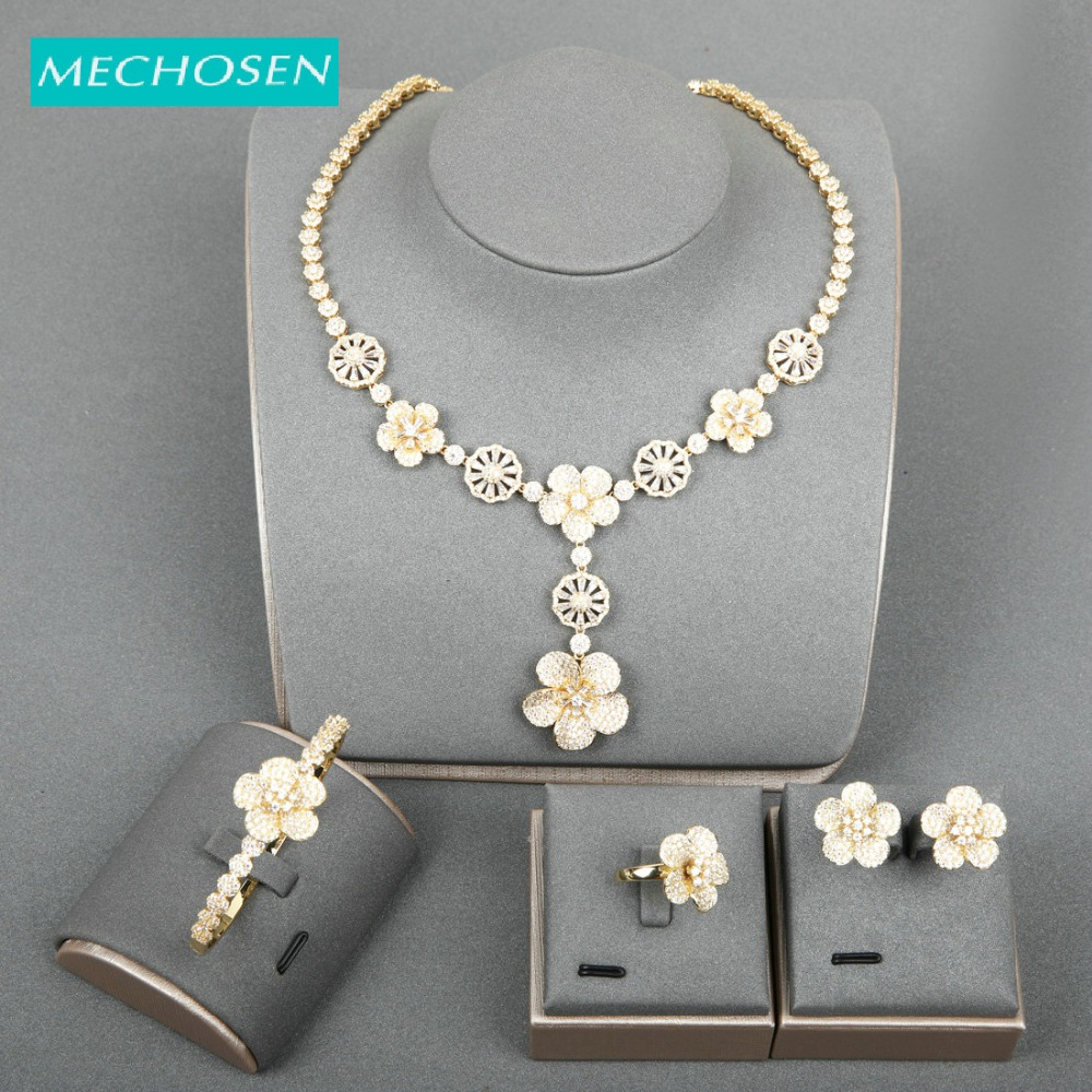 MECHOSEN Delicate Gold Color Shiny Zirconia Sets Flower Shape Copper Wedding Jewelry Necklace Ring Earrings Sets For Bride Gifts