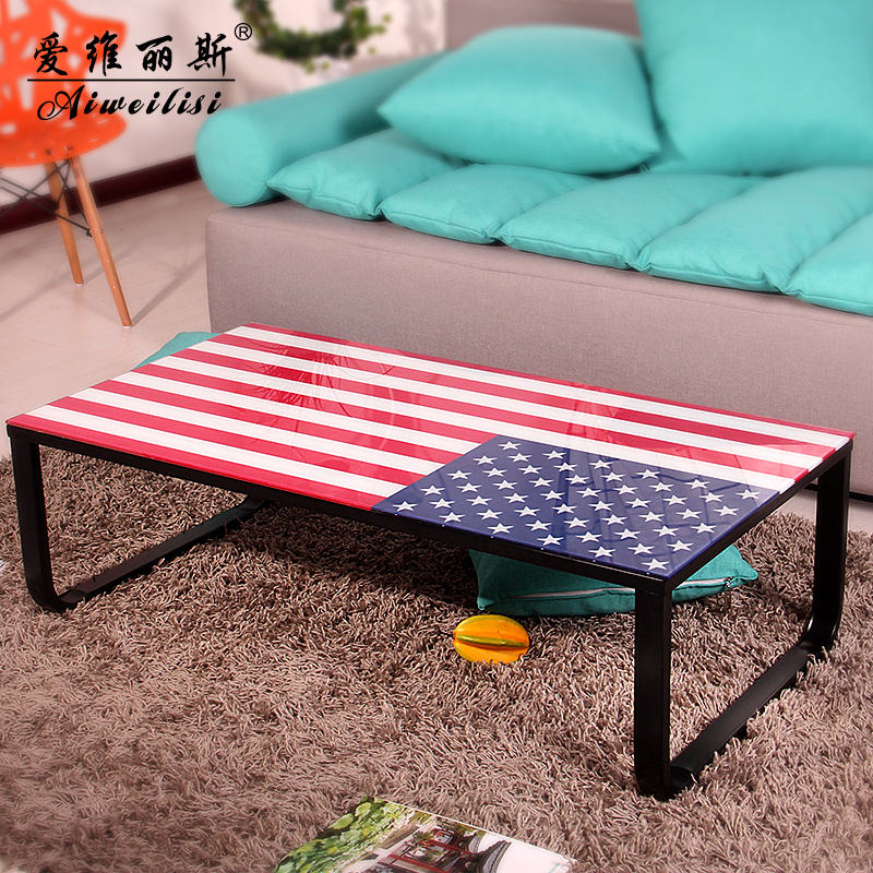Cheap new creative rainbow metal coffee table glass coffee table ...