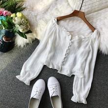 Moda z długim rękawem bluzka damska biała koszula panie kieszeń koszula kobiety dorywczo topy szczupła elegancka suczka biała bluzka 2018 tanie tanio REGULAR Krótki Pełna Koronki mumuzi 00987 V-neck Floral COTTON Na co dzień