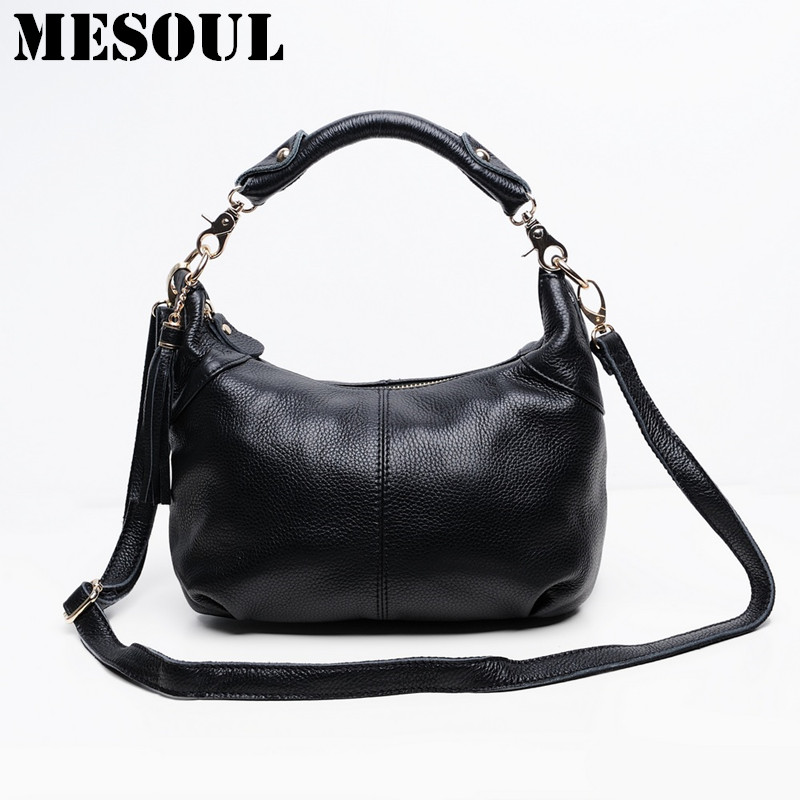 Candy color Fashion women Bags 100%Genuine Leather Womens Shoulder Handbag hobos diagonal Purse Satchel cowhide ladies soft bag