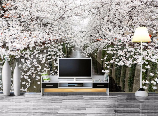 Simple Modern Customize HD Landscape Cherry Blossoms Wallpaper Brick Wall Living Room Bedroom Decorative Paper