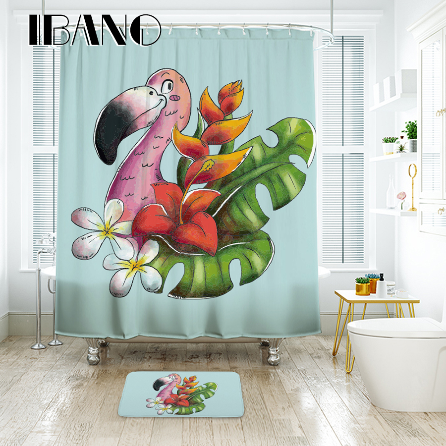 IBANO Flamingos Shower Curtain Waterproof Polyester Fabric Bath Curtain For The Bathroom 40x60cm Floor Mat