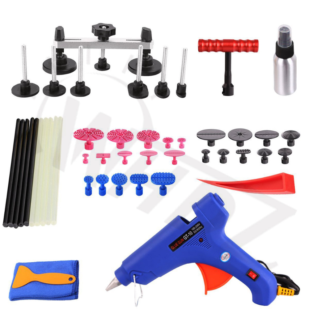 Dent & Ding Paintless Dent Removal Repair Tool Kits Car dent Repair Auto Dent Remover Bridge Puller Glue Gun Glue Puller Tabs whdz pdr auto body paintless dent removal repair tools kits bridge puller 2in1slide hammer glue puller automotive door ding dent