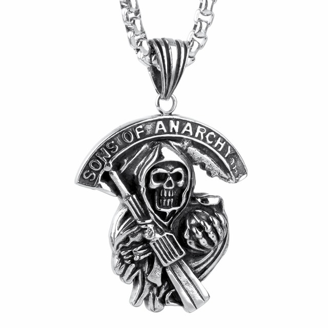 Sons of Anarchy Titanium Steel Necklace  Charms And Pendants Stainless Steel Diffuser Vintage Necklace