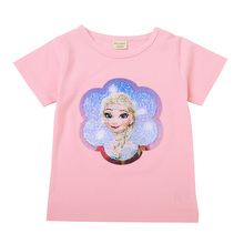 Change Face Color Magic Discoloration Snow Queen Elsa Anna Girls T-shirts Sequin Paillettes Tops Tee T Shirt for Girl Gifts 2-8Y цена 2017