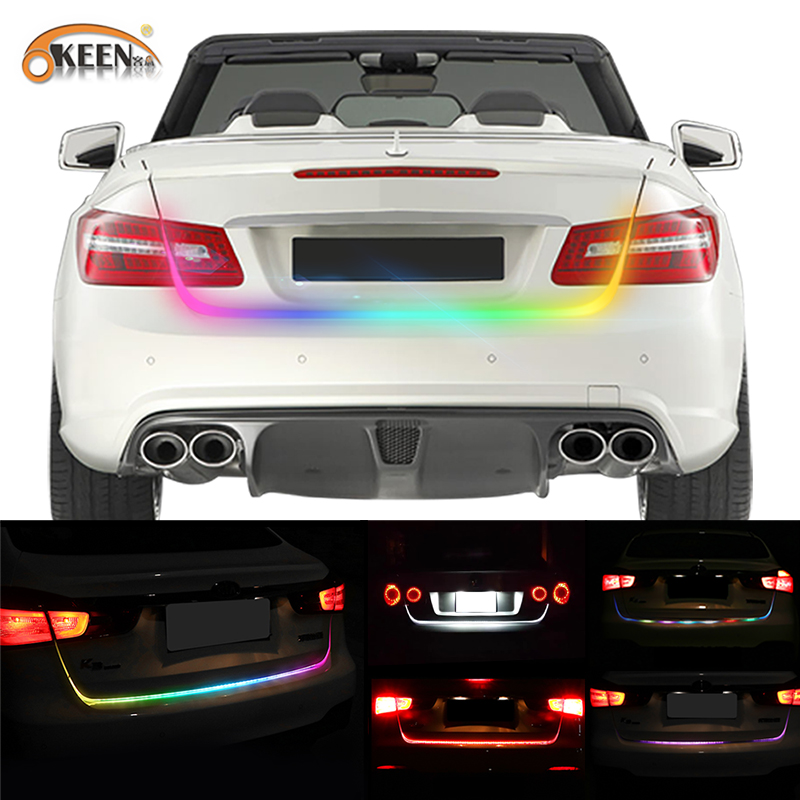 OKEEN 47.6inch RGB colorful flowing LED strip for car trunk dynamic blinkers led turn light <font><b>Tail</b></font> Trunk lights LED Warning Light
