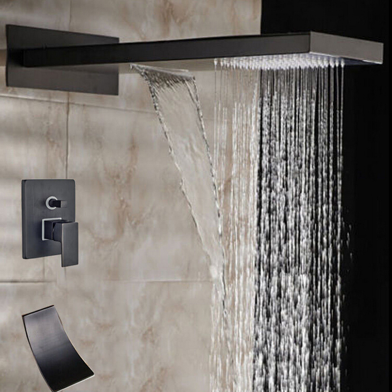 Oil Rubbed Bronze Bathroom Head Shower Rainfall & Waterfall  Shower Faucet 2 Ways Valve Mixer wholesale and retail contemporary oil rubbed bronze led waterfall