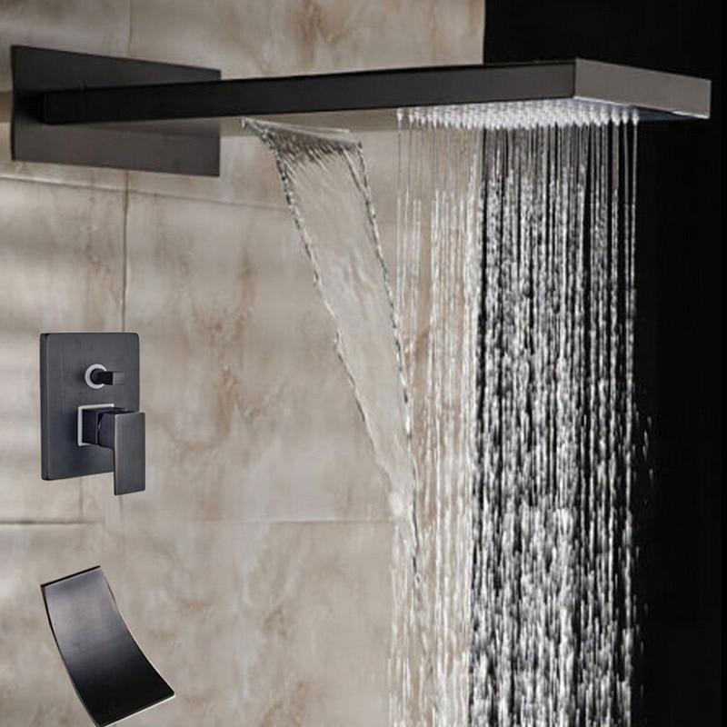 Oil Rubbed Bronze Bathroom Head Shower Rainfall & Waterfall Shower Faucet 2 Ways Valve Mixer