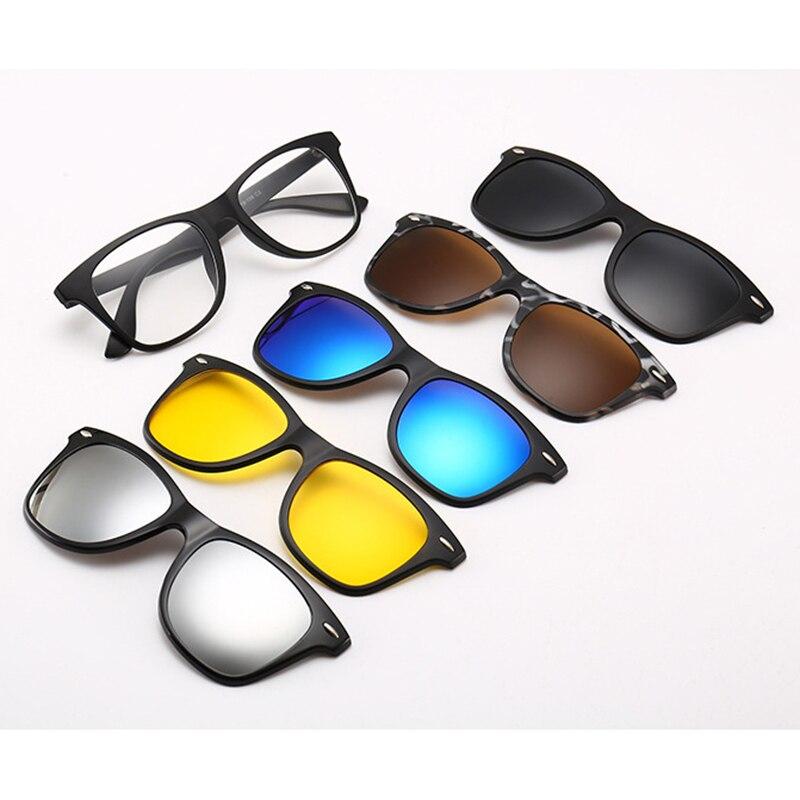 5lenses Magnet Sunglasses 5 in 1 Clip Mirrored Clip on Spectacles clip on glasses Men Women Polarized Custom Prescription Myopia in Women 39 s Sunglasses from Apparel Accessories