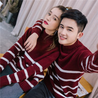 Couples autumn and winter high collar striped sweater loose Korean bf boys and girls students head sweater couple sweater tide