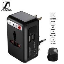 SeenDa International Travel Adapter Universal Power Adapter Smart Timing Charger 2 USB Worldwide Wall Charger for UK/EU/AU/Asia