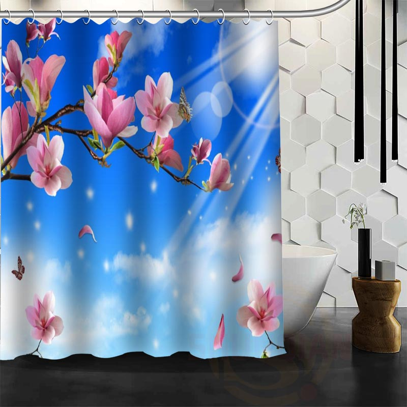 Best Nice Custom Spring Nature Flowers Shower Curtain Bath Curtain Waterproof Fabric For Bathroom MORE SIZE WJY&130