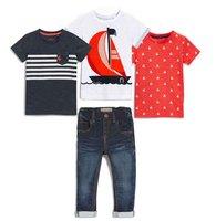 子供のセットファッション男の子夏白いボートt +赤tシャツシャツ+プリントボートtシャツ+ジーンズ子供4ピースセット2018